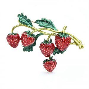 Brosche Erdbeere