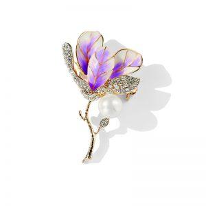 Magnolie Brosche lila 3
