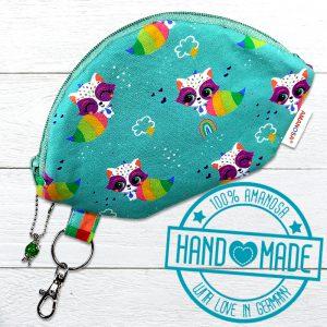 Schlüsseltasche Waschbär Regenbogen Etui Utensilo 1